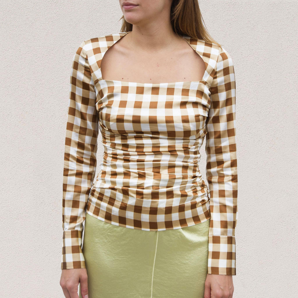 Ganni - Silk Stretch Blouse - Toffee Plaid, front view, available at LCD.