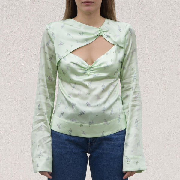 Ganni - Silk Stretch Satin Blouse, front view, available at LCD.