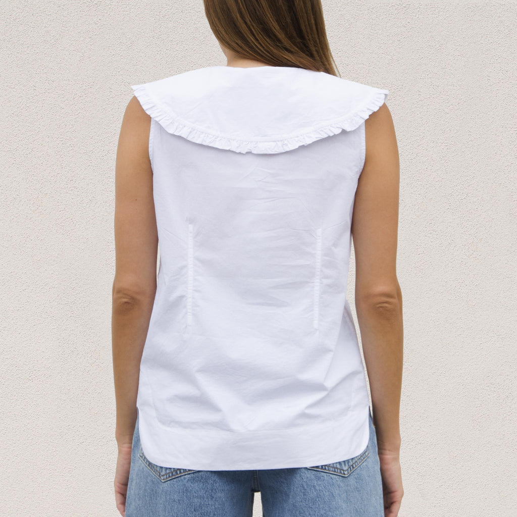 Ganni - Sleeveless Cotton Poplin Top, back view, available at LCD.