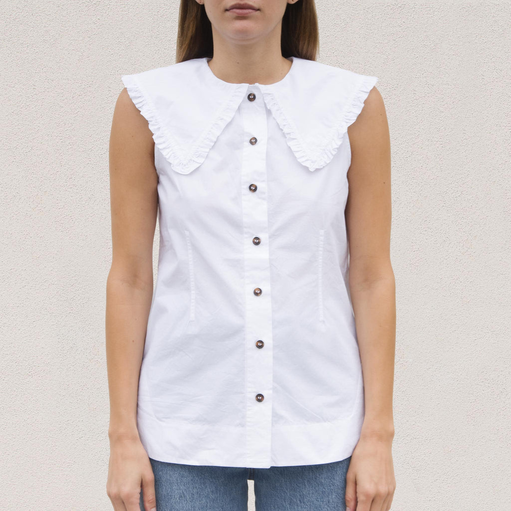 Ganni - Sleeveless Cotton Poplin Top, front view, available at LCD.