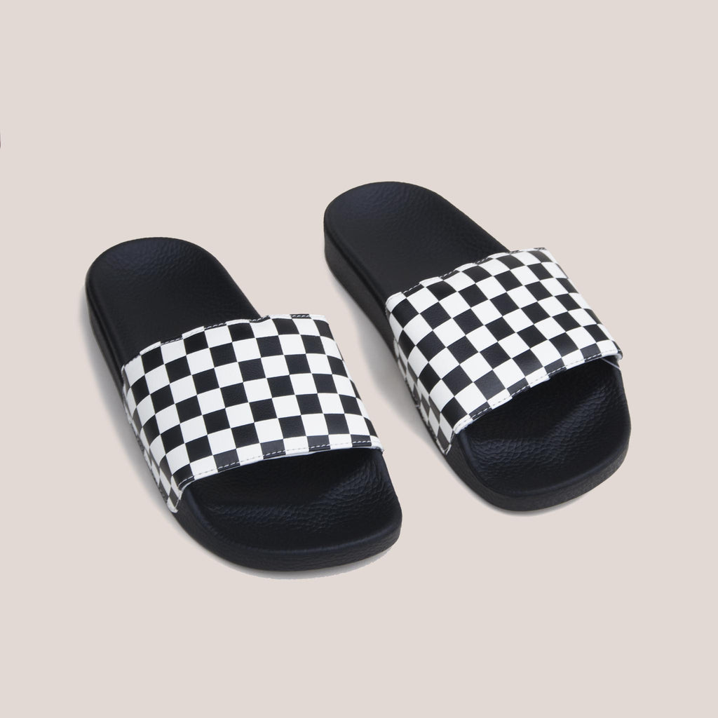 Vans - Slide-On - Checkerboard, angled view, available at LCD.