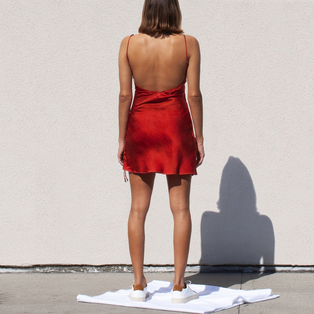 SVNR - Slip Dress - Fire, back view, available at LCD.