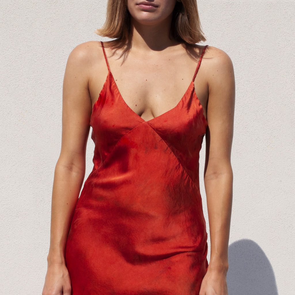 SVNR - Slip Dress - Fire, front view, available at LCD.
