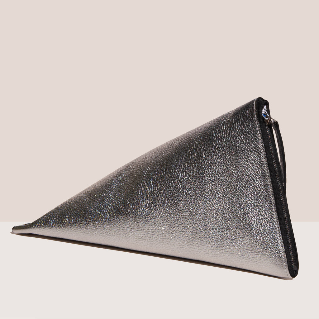 Simon Miller - Slug Bag - Silver, angled view, available  at LCD.