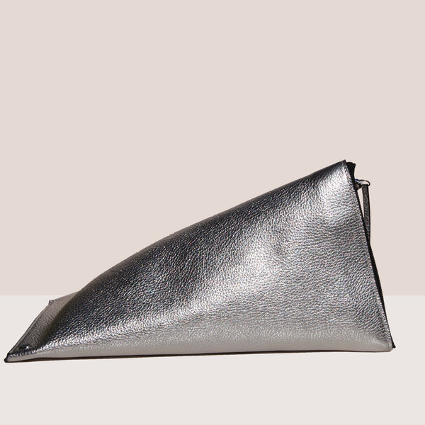 Simon Miller - Slug Bag - Silver, side view, available  at LCD.