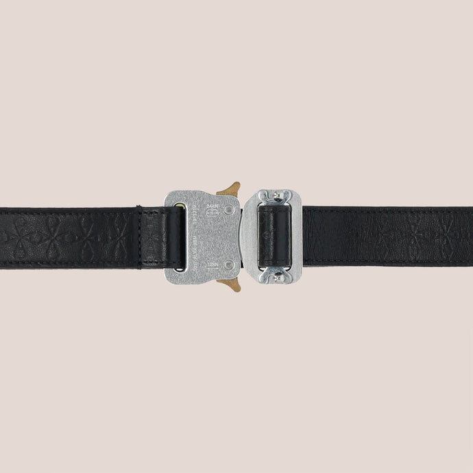 1017 Alyx 9SM - Small Monogram Rollercoaster Belt, buckle detail, available at LCD.