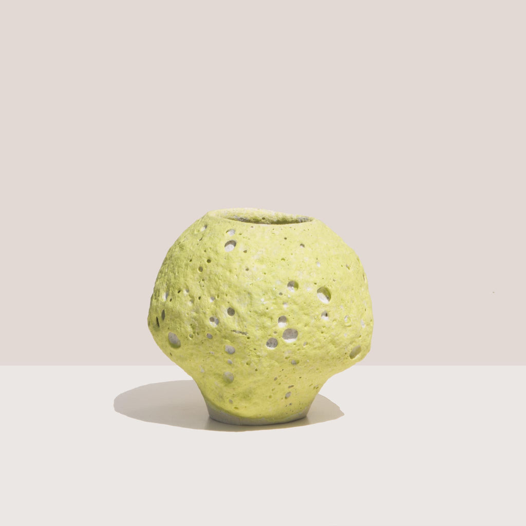 Raina Lee Ceramics - Small Moonjar - Chartreuse, front view, available at LCD.
