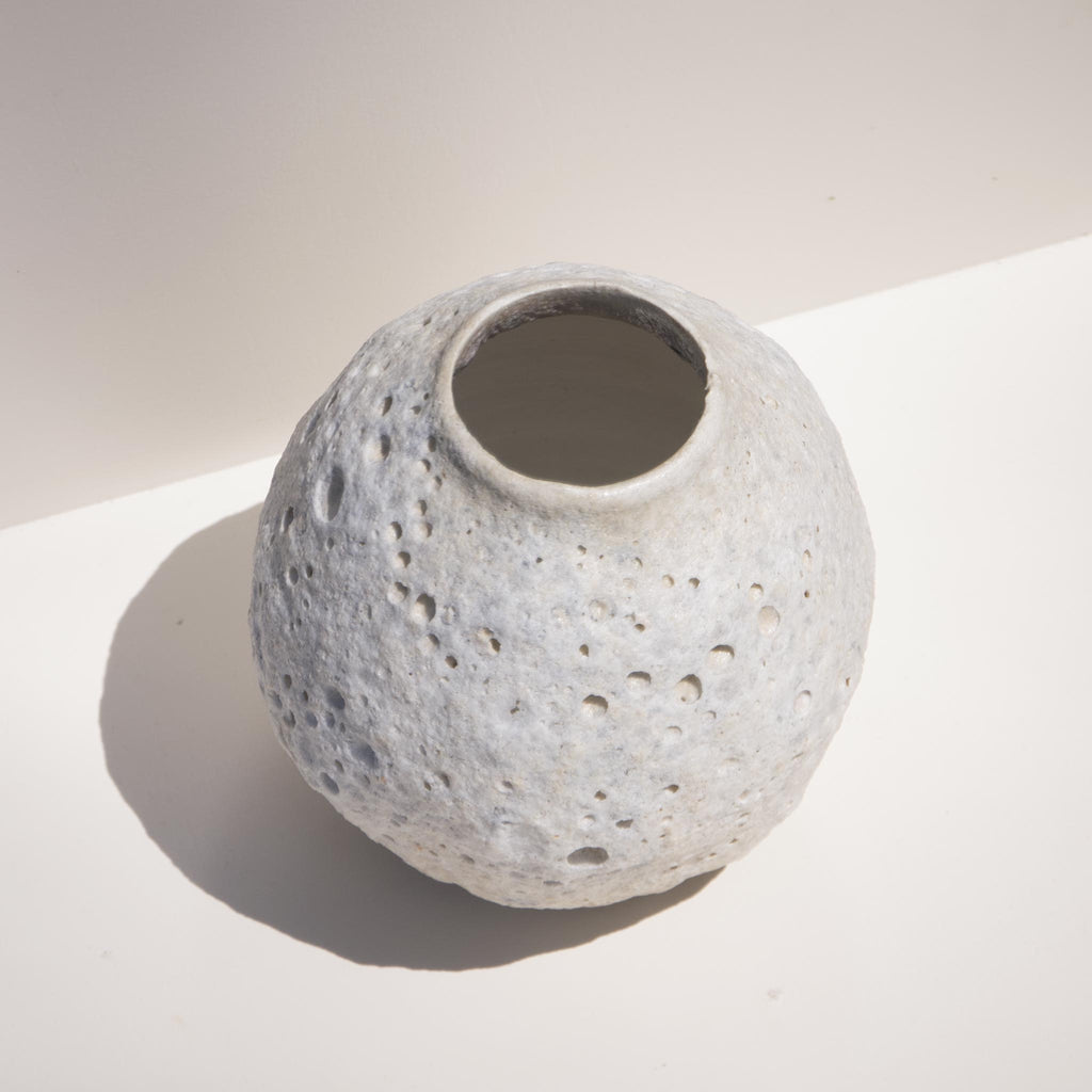 Raina Lee Ceramics - Medium White Moon Vase, aerial view, available at LCD.