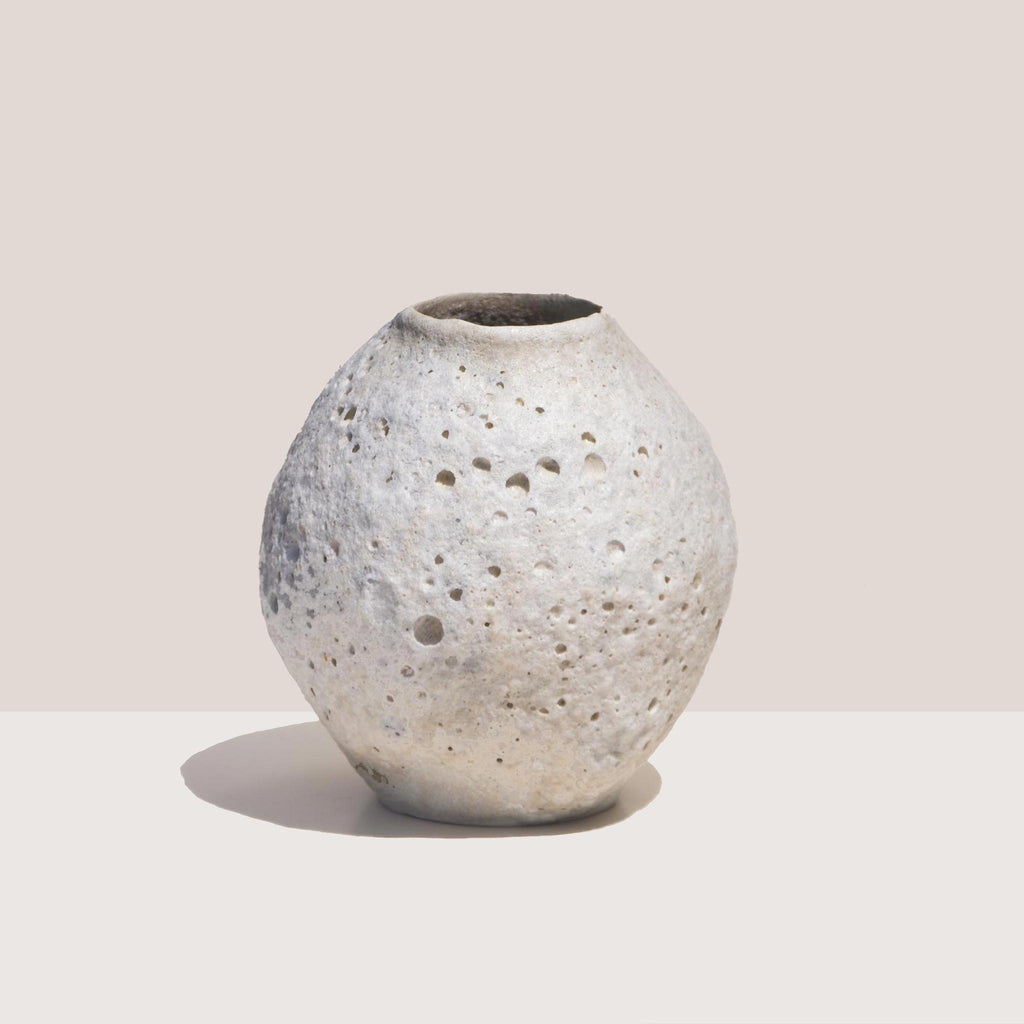 Raina Lee Ceramics - Medium White Moon Vase, available at LCD.