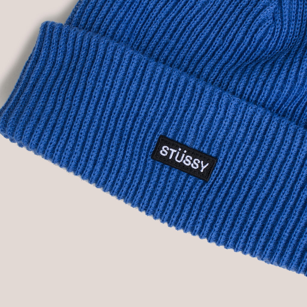 Stussy - Small Patch Watchcap Beanie - Blue, detailed view of front logo patch.