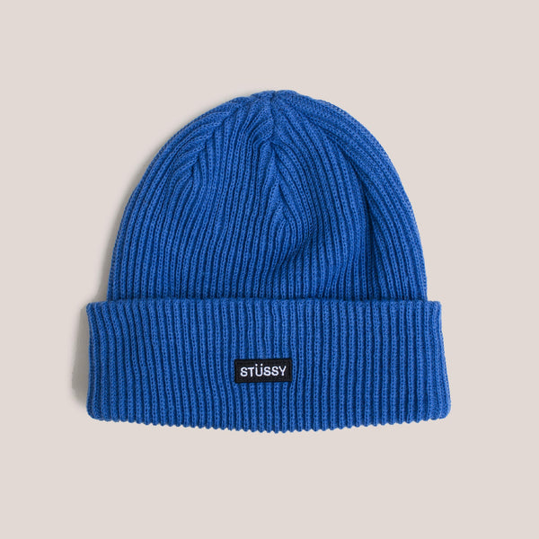 Stussy - Small Patch Watchcap Beanie - Blue, front view.