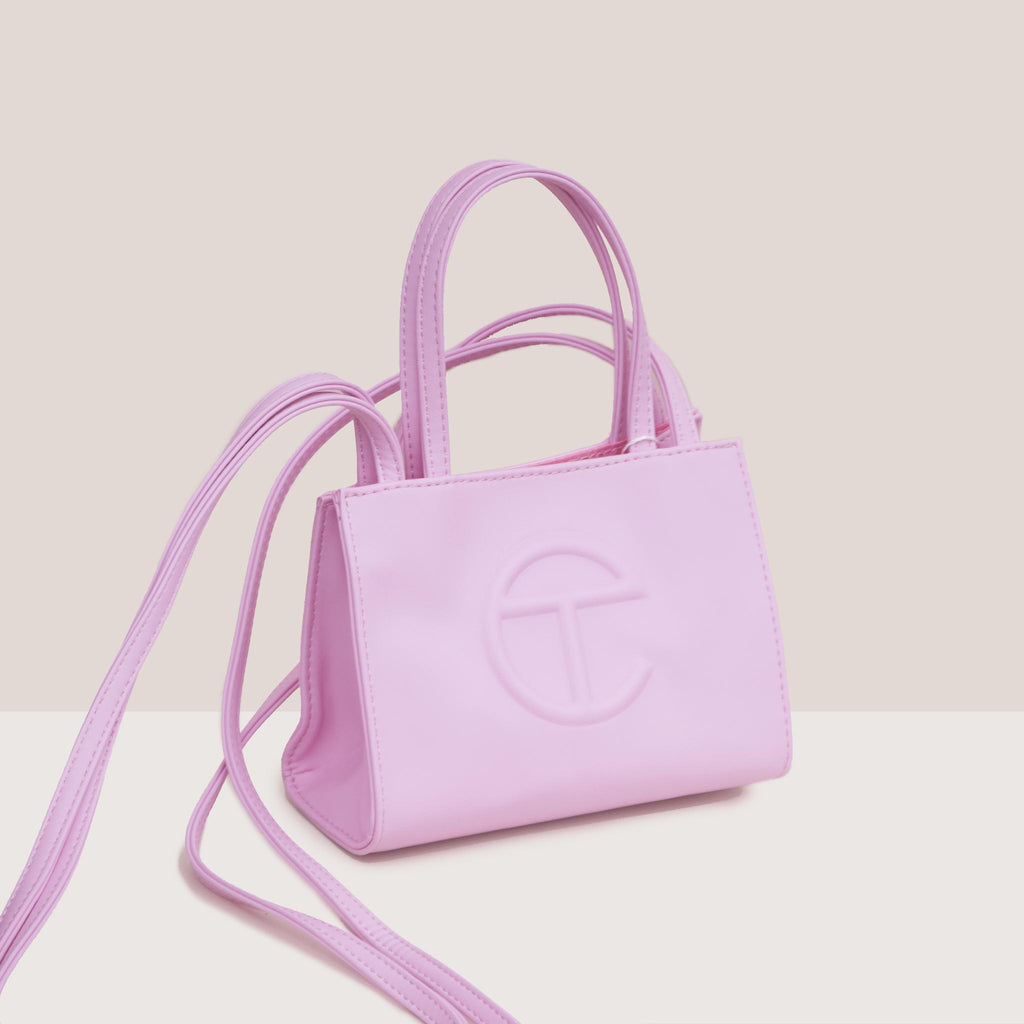 Telfar - Small Shopper - Bubblegum Pink, angled view, available at LCD.