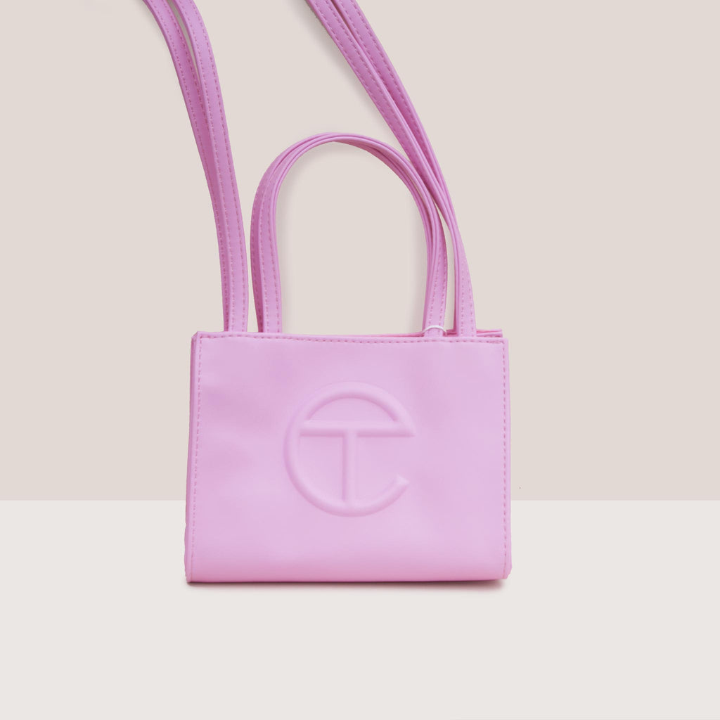 Telfar - Small Shopper - Bubblegum Pink, front view, available at LCD.