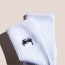 Load image into Gallery viewer, Stussy - Small Stock Crew Socks - White, available at LCD.
