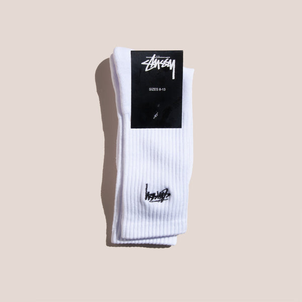 Stussy - Small Stock Crew Socks - White, available at LCD.