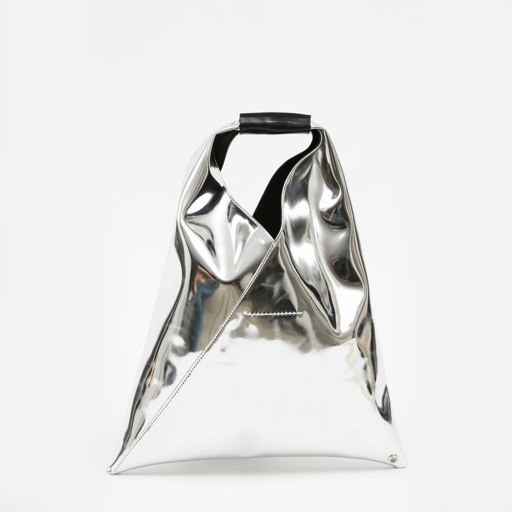 MM6 - Japanese Small Tote Bag - Silver, front view, available at LCD.