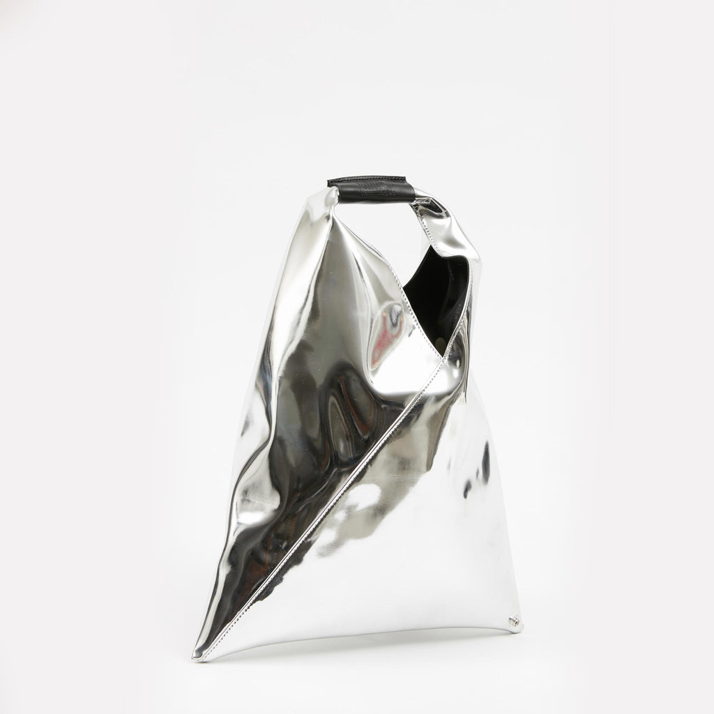 MM6 - Japanese Small Tote Bag - Silver, angled view, available at LCD.