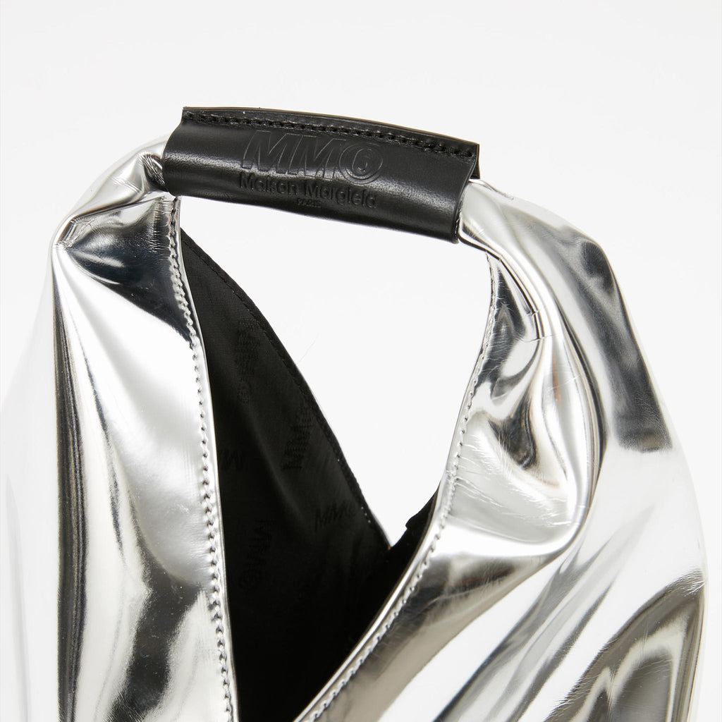 MM6 - Japanese Small Tote Bag - Silver, handle detail, available at LCD.