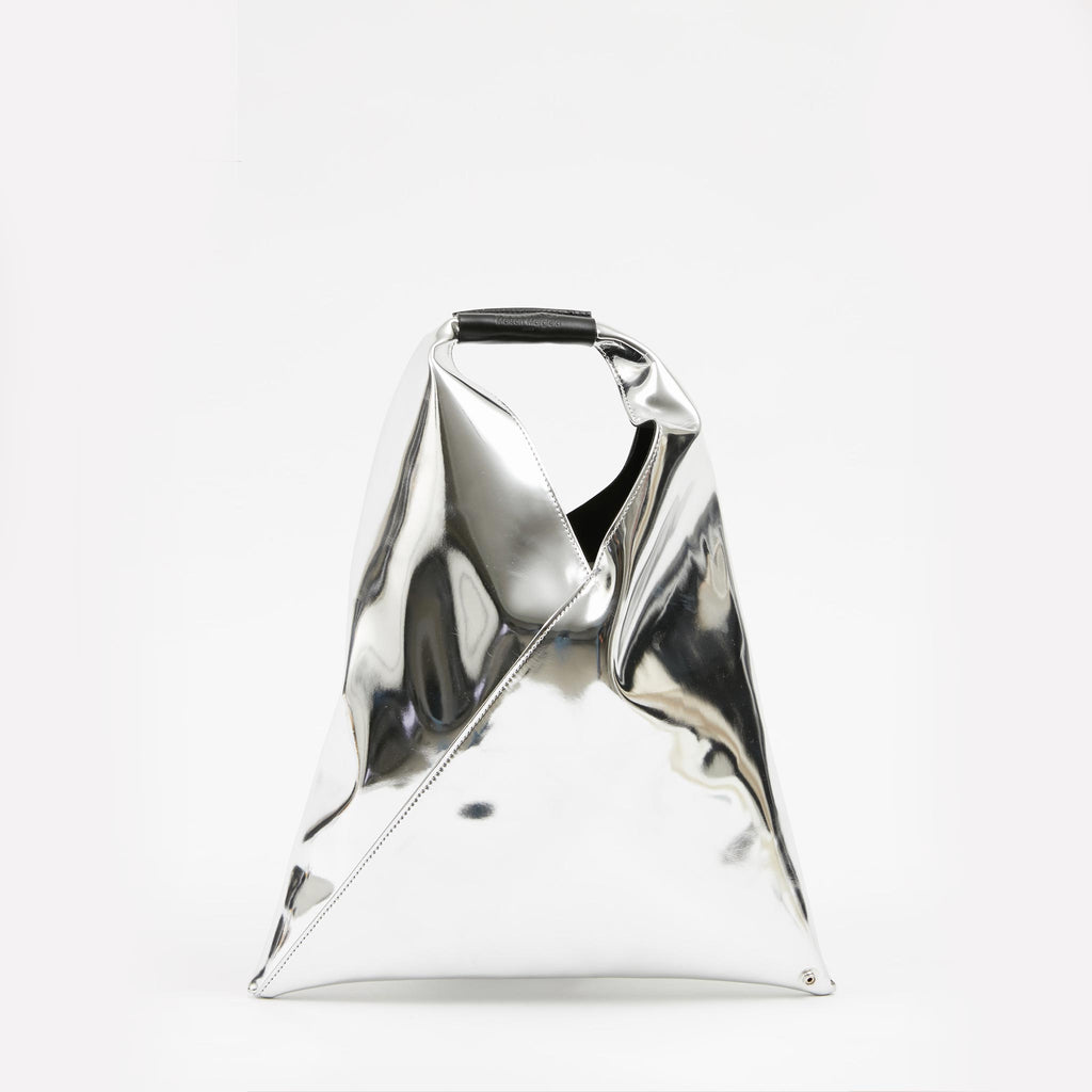 MM6 - Japanese Small Tote Bag - Silver, back view, available at LCD.