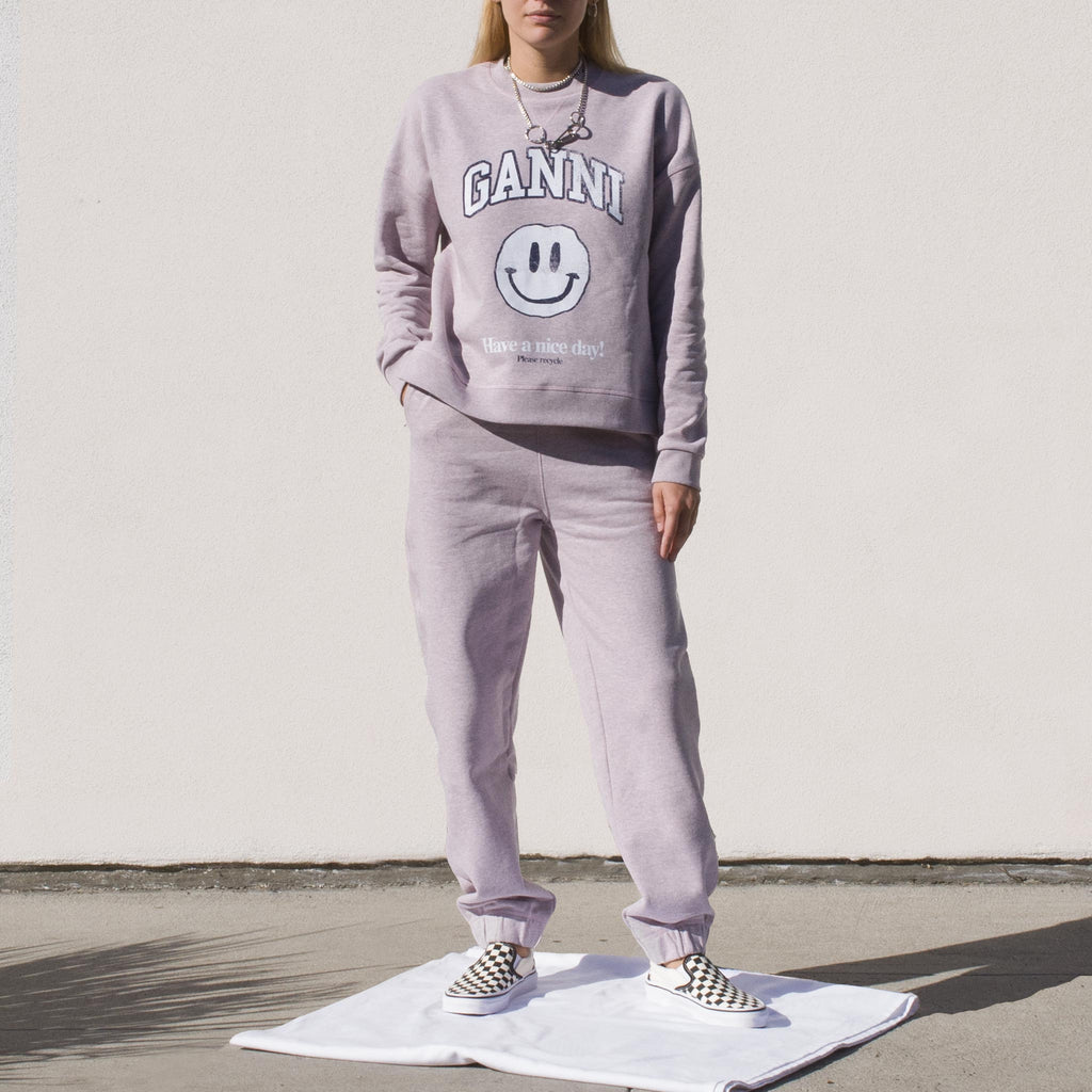 Ganni - Smiley Sweatshirt - Pale Lilac, front view.