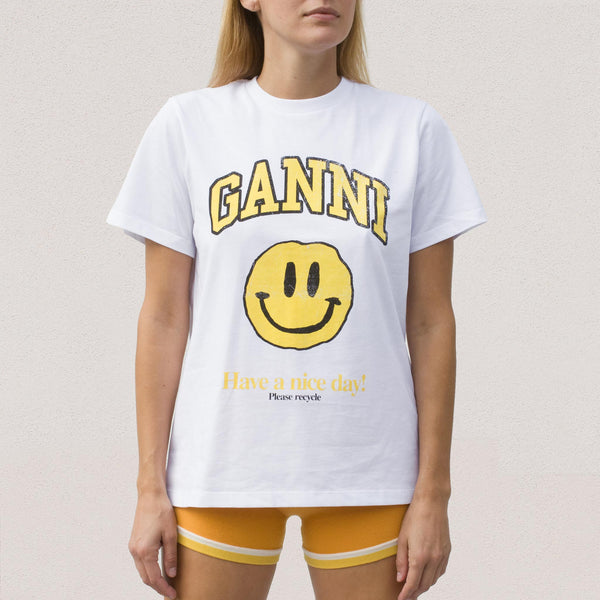 Ganni - Smiley T-Shirt - White, front view.