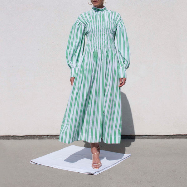Ganni, Smock Dress - Kelly Green, available at LCD.