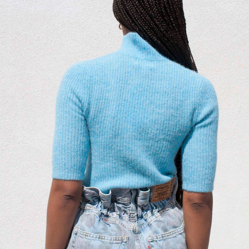 Ganni - Soft Wool Knit Top, back view.