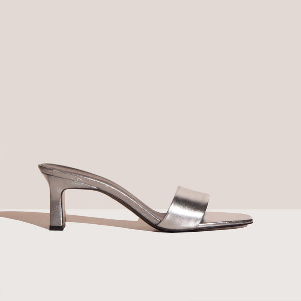 Simon Miller - Solo Heel - Silver, side view, available at LCD.
