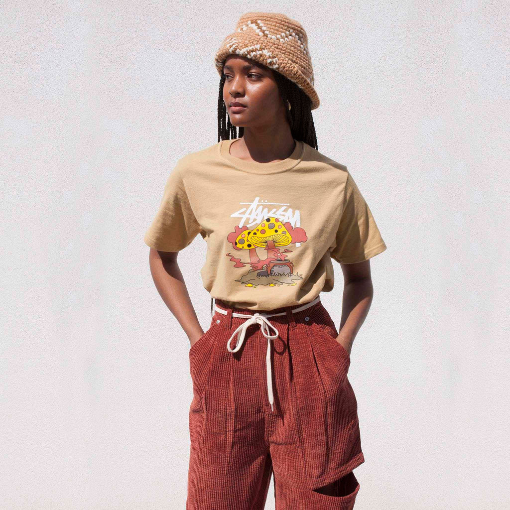 Stussy - Something's Cookin' Tee - Khaki, front view.