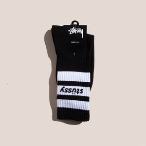 Stussy - Sport Crew Socks - Black/White, available at LCD.