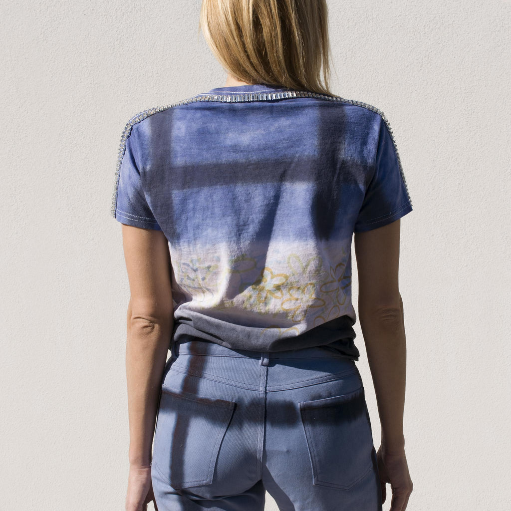 Collina Strada - Sporty Spice Tee - Navy Flower Grid, back view.