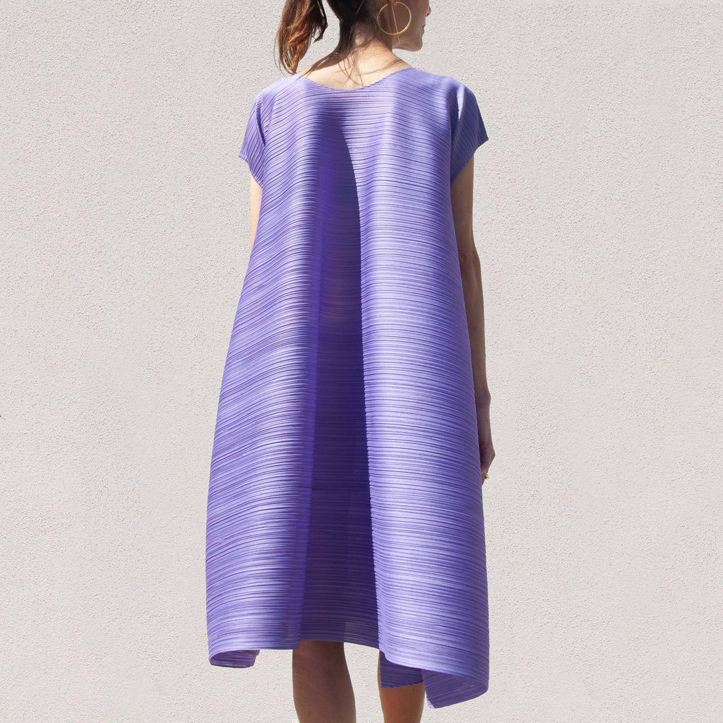 Pleats Please - Squared Dress, back view, available at LCD.