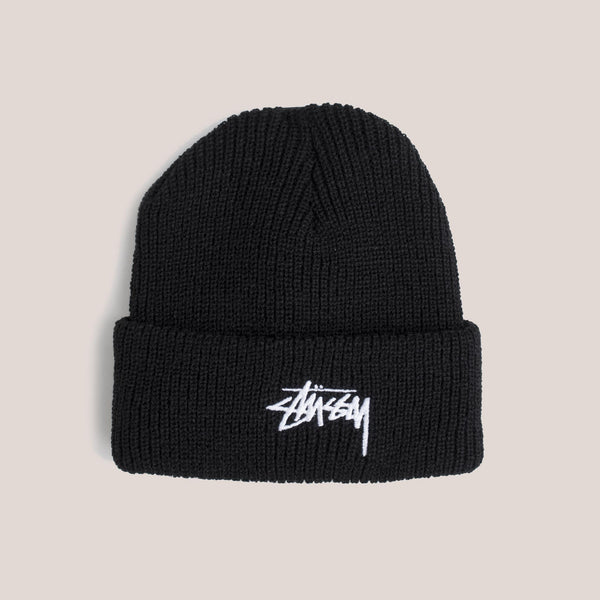 Stussy - Stock Cuff Beanie in Black, front view.