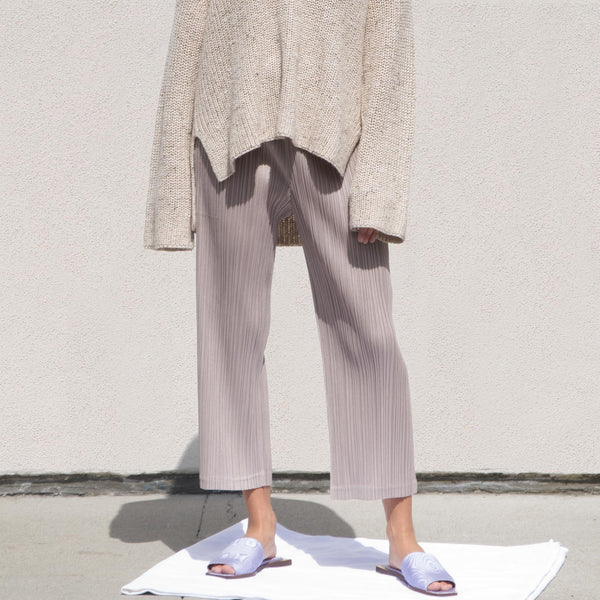 Pleats Please - Straight Leg Pleated Pants - Beige, front view, available at LCD.