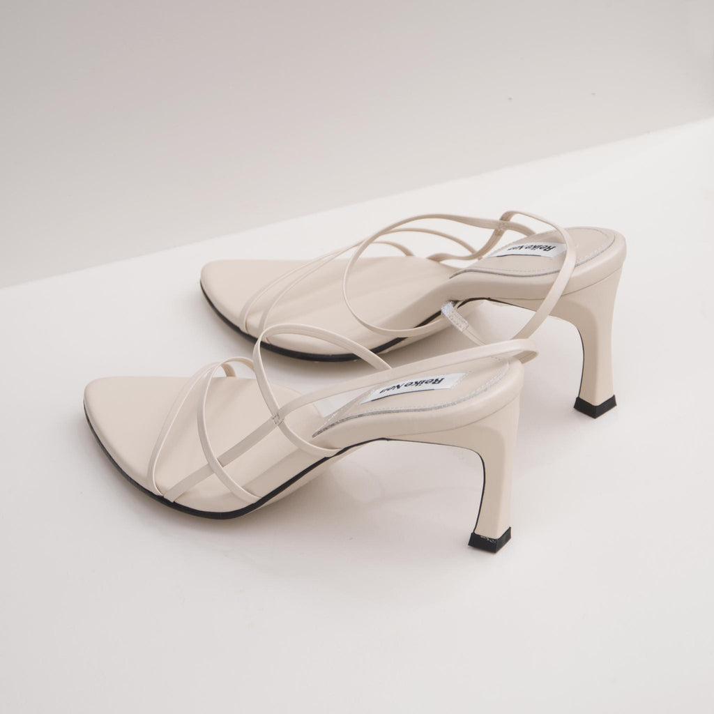 Reike Nen - Strappy Pointed Sandals - Cream, back view, available at LCD.