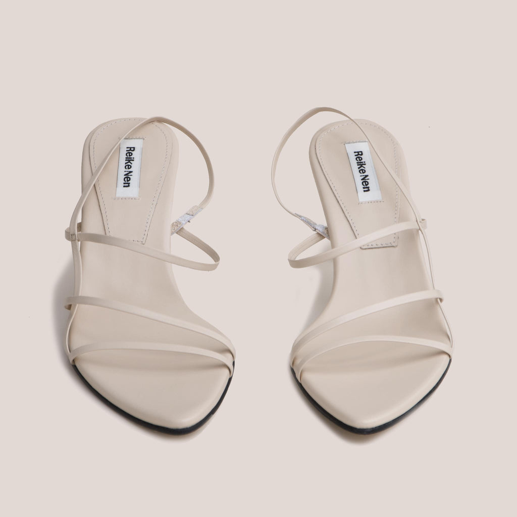 Reike Nen - Strappy Pointed Sandals - Cream, front view, available at LCD.