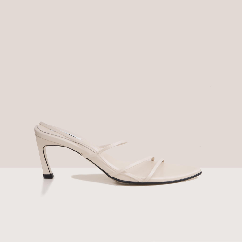 Reike Nen - Strappy Pointed Sandals - Cream, side view, available at LCD.