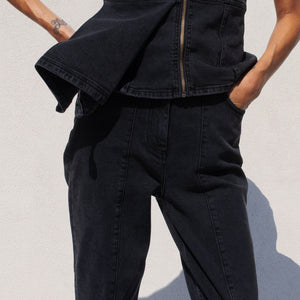 Aalto - Stretch Crop Denim Pant, detail view, available at LCD.
