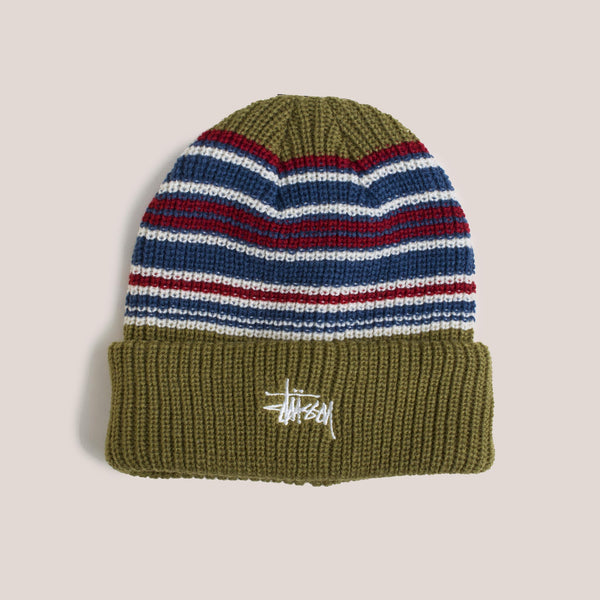Stussy - Stripe Cuff Beanie - Olive, front view.