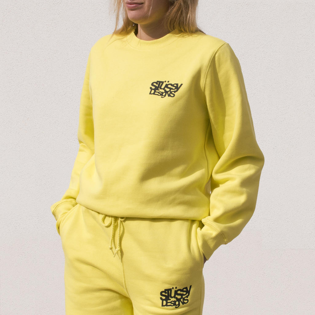 Stussy - Stussy Designs Crewneck - Lemon, angled view.