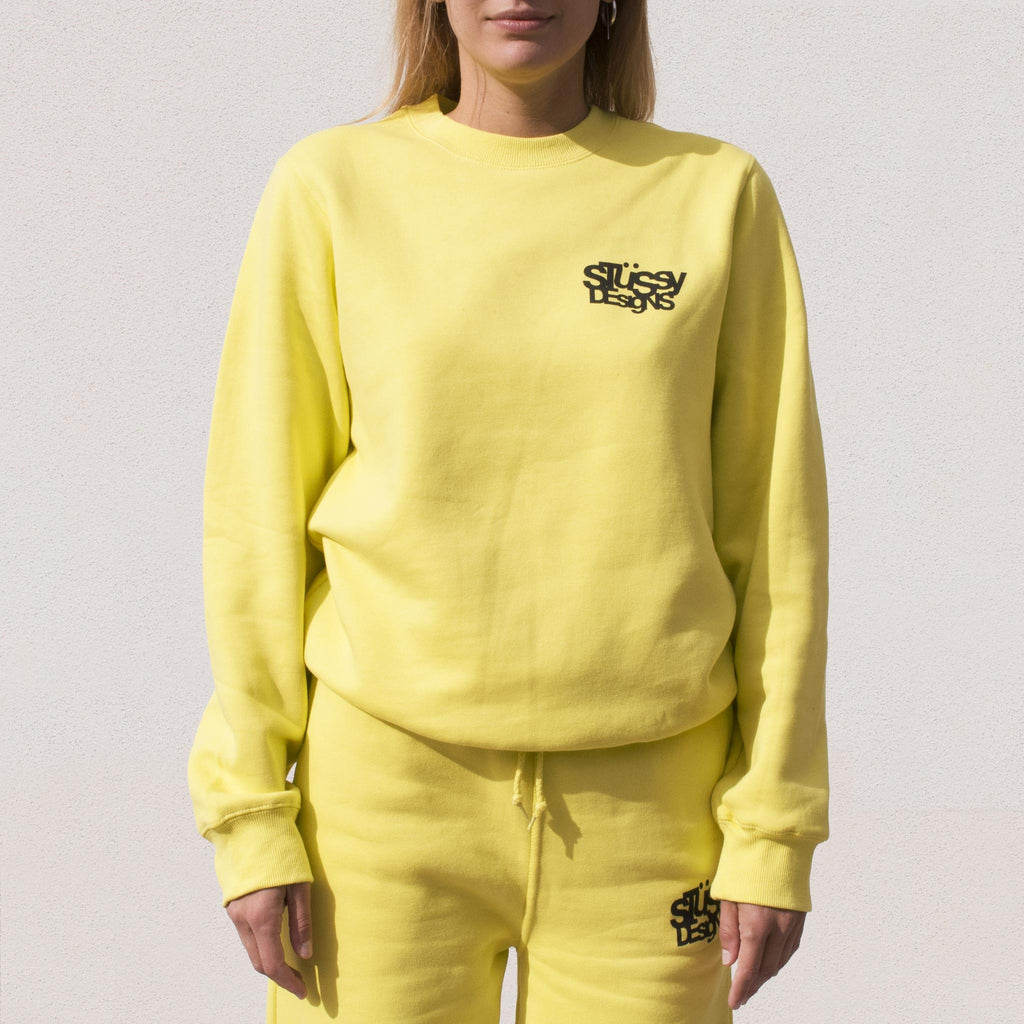 Stussy - Stussy Designs Crewneck - Lemon, front view.