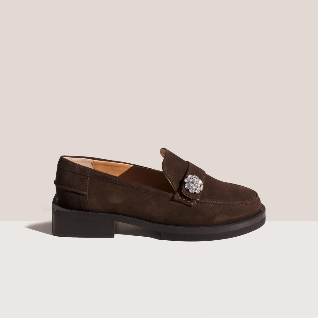 Ganni - Suede Jewel Moccasin - Mole, side view.