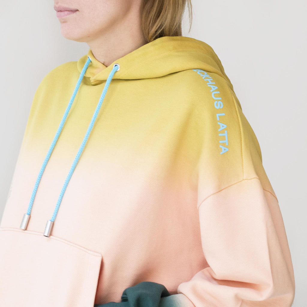 Eckhaus Latta - Hoodie - Sunset, shoulder detail, available at LCD.