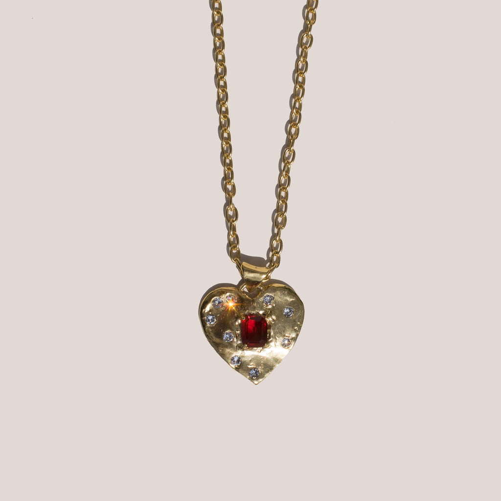 Mondo Mondo - Super Heart Necklace - Ruby, available at LCD.