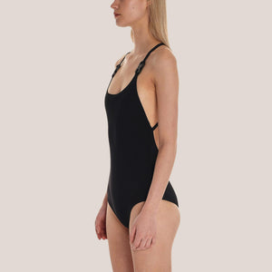 1017 Alyx 9SM - Susyn Swimsuit in Black, angled view, available at LCD.