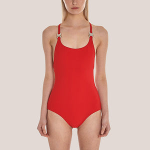 1017 Alyx 9SM - Susyn Swimsuit in Red, front view, available at LCD.