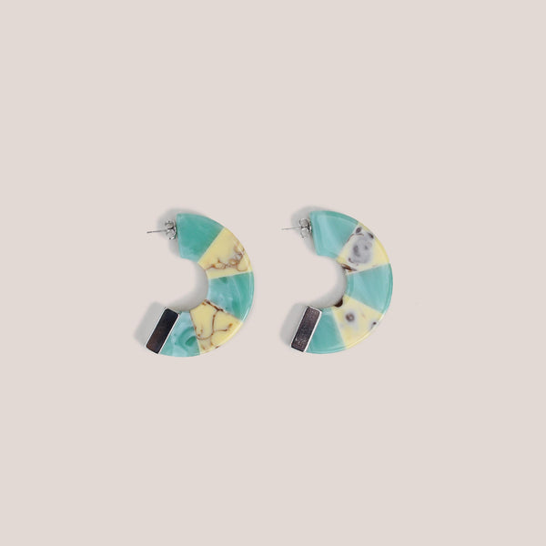 Rachel Comey - Tabby Hoop Earrings - Turquoise White Marble, available at LCD.