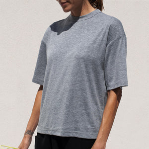 Roucha - Tammy Tee in Medium Grey, angled view, available at LCD.
