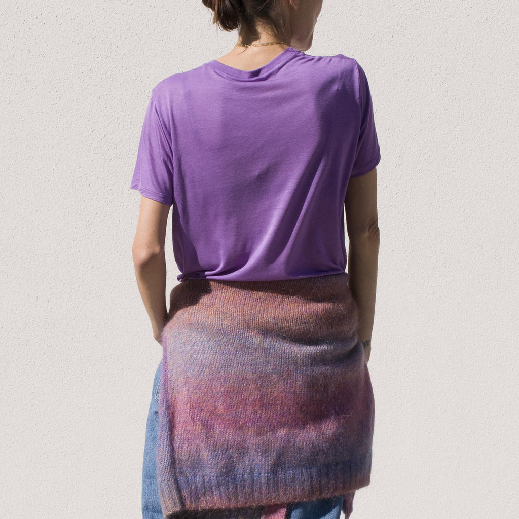 Basrange - Tee Shirt in Chay Purple, back view.