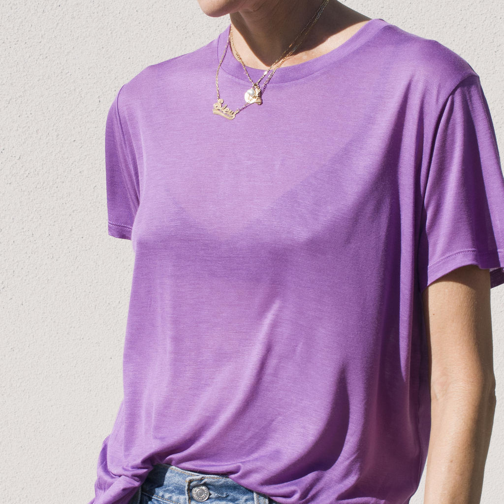 Basrange - Tee Shirt in Chay Purple, angled view.